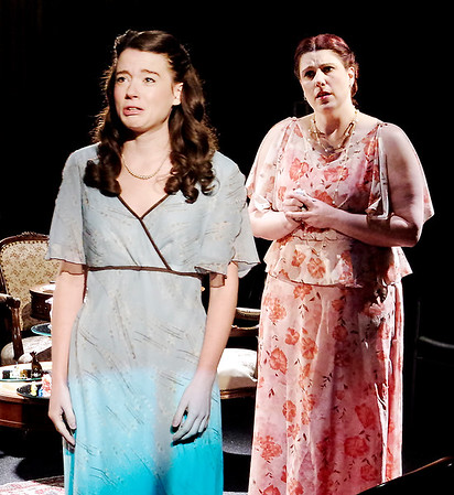 """Mark Maynard   for The Herald Bulletin<br /> Laura Wingfield (Alaina Porch) is upset by her mother Amanda's (Angela Gick) criticism in """"The Glass Menagerie"""" presented by The Alley Theatre.<br /> For a gallery of photos to view or purchase, visit<br /> photos.heraldbulletin.com."""