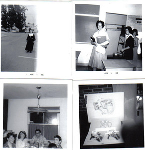 clockwise from upper left: Sister Agnelle, MIss Conway, Joan Caravaggio, Pat King, Joan's dad, and brother