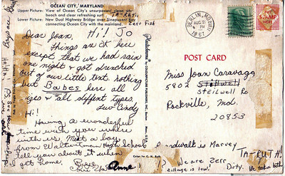 postcard to Joan Caravaggio from Cindy Stifter and Anne Bowen