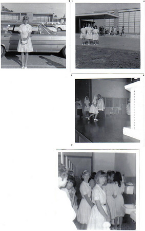 The first set is from Graduation and the second two sets are from the 8th grade luncheon I believe.  I am the graduate genuflecting with Fr. Lauriola in the background.  (Damn, I wish I had those knees now!)  Notice the girls had to wear white gloves in addition to our mantillas on the head.  Pastel colored shirt waist dresses were the norm. Don't worry, the film was B & W.   See if you all can pick out some of the faces from here.      The girls' bathroom scene includes Mary Coburn, Pat Pierce, Mary Ann Hernandez, and Denise Mazurek.         Know the dancing cabelleros?  Whose back is to the camera and who is watching?  I have them all marked but I am testing your memories.