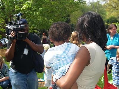 Monique Evans being interviewed by CBS News Atlanta.