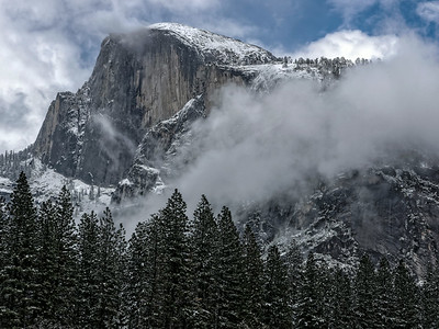 half dome in snow