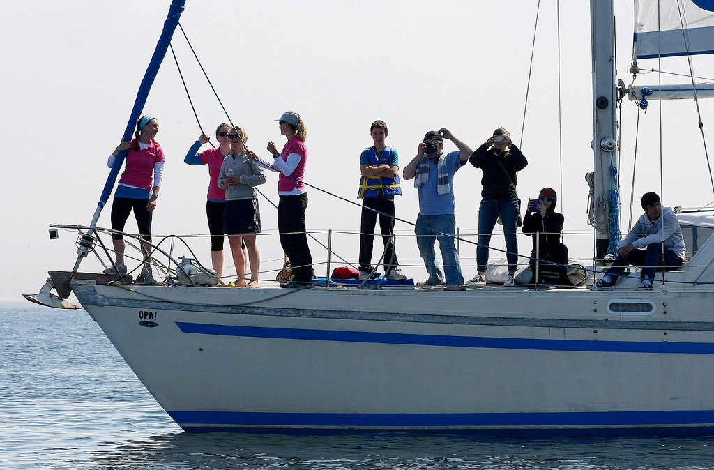 . People watch the start of the Great Pacific Race on June 9, 2014 in Monterey. Thirteen teams from around the world battle it out on a grueling 2,400 mile stretch of the Pacific Ocean from Monterey to Honolulu.  (Vern Fisher - Monterey Herald)