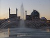 Dawn arrives on the Naqsh-e Jahan Square and the Jaame' Abbasi Mosque.