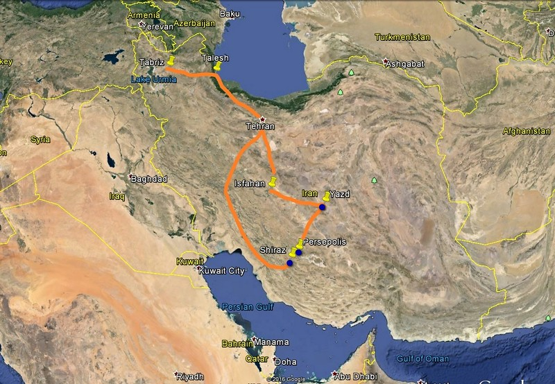 From Tehran, we flew to Shiraz, then by car to Persepolis, Yazd and then Isfahan before flying back to Tehran.