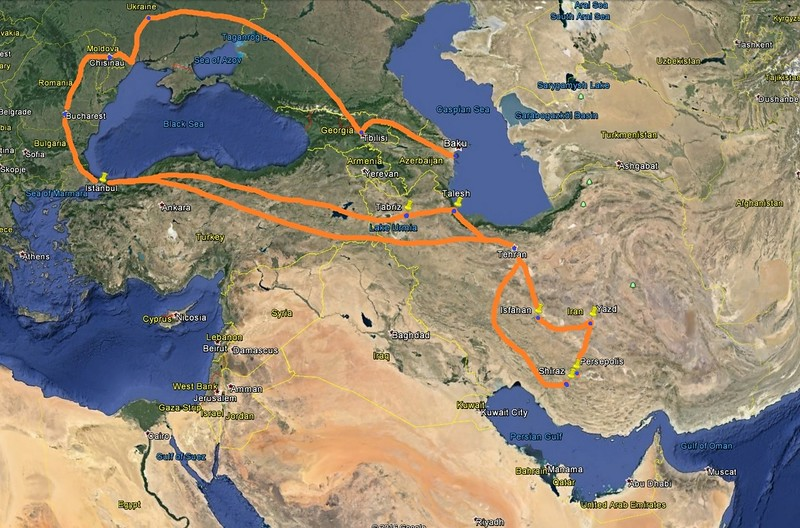 The major travel routes during the first 10 weeks, including the three weeks in Iran.