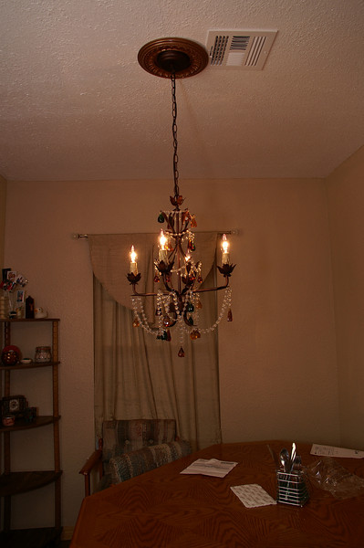 The dining room chandelier.  It's not my usual style, but when I saw it, I knew it was perfect for this space