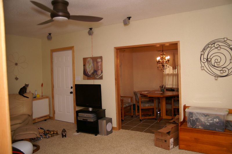 The living room taken from the hall showing the TV, gorgeous ceiling fan etc.