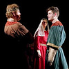 "Mark Maynard | for The Herald Bulletin<br /> Daniel Clymer, Rhonda Tinch-Mize, and Spencer Martin portray King Henry II, Queen Eleanor of Aquitaine and Prince Geoffery in the Alley Theatre's production of ""The Lion in Winter."""