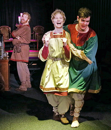 Mark Maynard | for The Herald Bulletin<br /> Henry II (Daniel Clymer) watches the reaction of his sons John (Silas Martin) and Geoffrey (Spencer Martin) to his hints that John might succeed him as King of England.