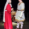 "Mark Maynard | for The Herald Bulletin<br /> Queen Eleanor (Rhonda Tinch-Mize) talks to her oldest son Richard the Lionheart (Joshua Wilkinson) about the manipulations of the King in ""The Lion in Winter.'"