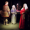 "Mark Maynard | for The Herald Bulletin<br /> Daniel Clymer (King Henry II), Ashley Hastings (Princess Alais) and Rhinda Tinch-Mize (Quen Eleanor) deliver strong performances in the Alley Theatre's production of ""The Lion in Winter."""