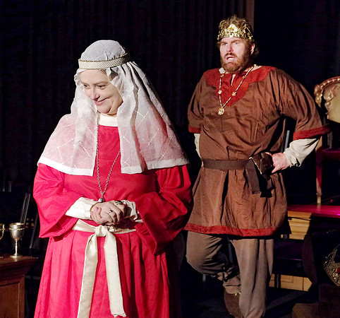 "Mark Maynard | for The Herald Bulletin<br /> Eleanor (Rhonda Tinch-Mize) takes pleasure in upsetting her husband, Henry II (Daniel Clymer), in ""The Lion in Winter."""