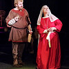 "Mark Maynard | for The Herald Bulletin<br /> Henry II (Daniel Clymer) tries unsuccessfully to convince his wife Eleanor (Rhonda Tinch-Mize) to sign away her title in the Alley Theatre's production of ""The Lion in Winter."""