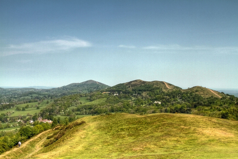 The Malvern Hills looking north from 'The British Camp' and the Welsh mountains in the distance.