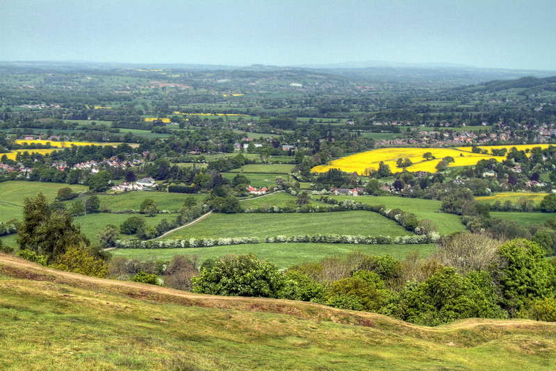 Looking West from The Malvern Hills across Herefordshire towards Wales.
