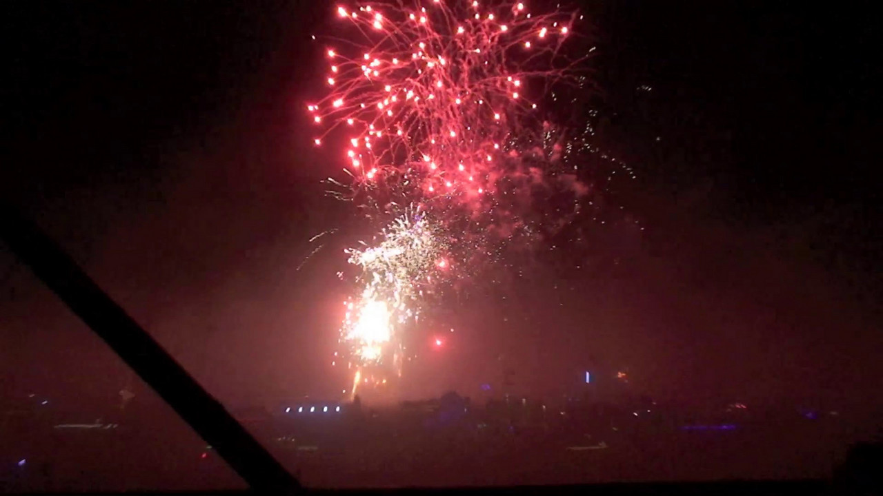 A two and a half minute video with fireworks, explosions, dust, and cheers. It's huge, so you can view it full screen.