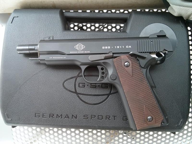 The German Sport Guns (GSG) 1911.<br /> <br /> The slide is locked back.