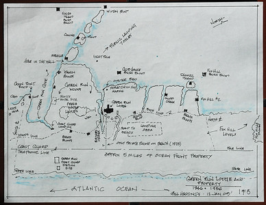 "All drawings courtesy Mr. Bill Hastings, who spent his ""formative"" years helping his uncle Mr. Bob Jackson at the lodge. There are very few people alive who could make this drawing and the two others....many thanks Bill.  The  property was several thousand acres, with five miles of beachfront. While the details of the transaction are unclear to me, Leon Ackerman eventually purchased all the beach front and almost all of the bay side. ...Note though Bob Jackson retained ownership of the land where the current ""Green  Run"" is located. After the deal was done Ackerman burned down the buildings at the original Green Run. Two buildings were moved to the new location though, one being the cook shack from the 1875 Life Saving Station at Green Run."