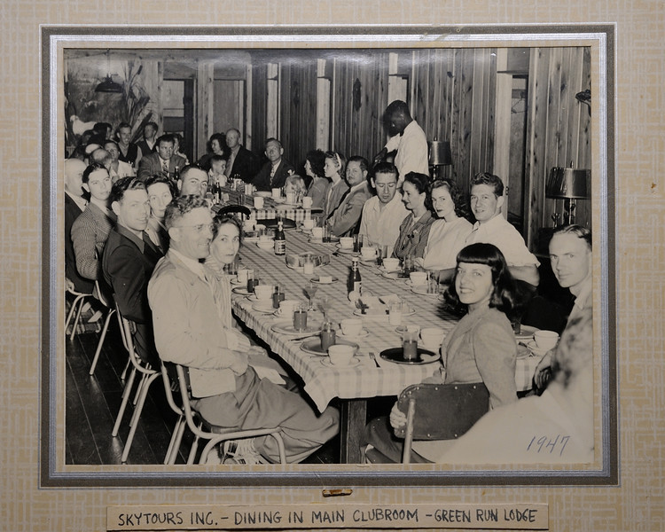As you can see, Green Run was a nice place.....notice the clothing of the avaition club members, they were seriously dressed up! The shine on the pine floor and the white jacketed waiter all add to the coolness of the photograph which I suspect was taken by a professional. Great photo. Enlarge to full size and you can make out some interesting details and facial expressions. The year was 1947. If anyone has any more details about the photo PLEASE add your comment and I will incorporate it in this caption! Bill Hastings oral history of Green Run mentions that many a plane broke its propeller on landing, but it only took a couple hours for one to be flown in by another club member....they kept the broken props inside the lodge for laughs!
