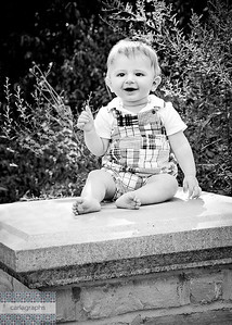 Isaac on Stone Pillar - bw-