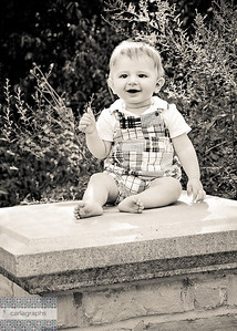 Isaac on Stone Pillar - warm bw-