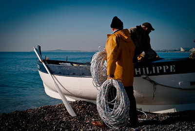 Poutine fishing in Cros de Cagnes, France