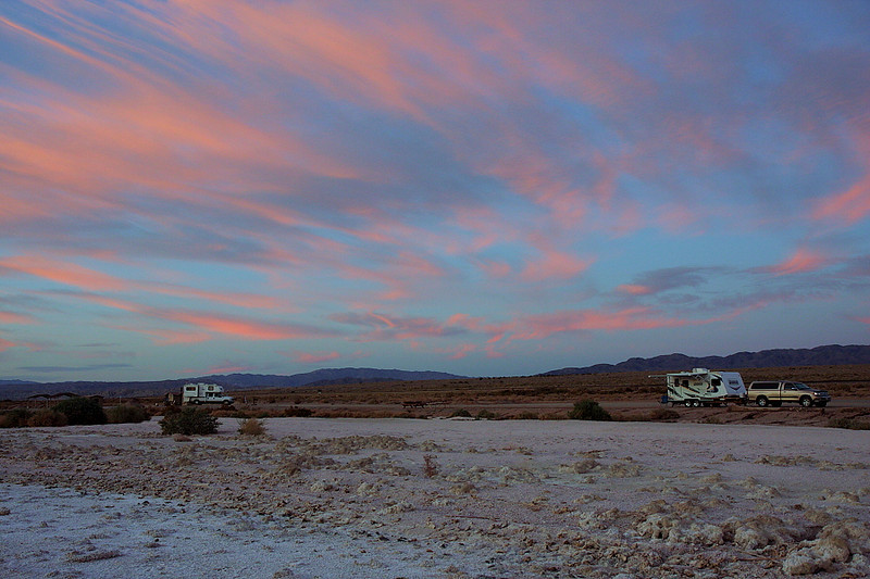 "Sunset over Corvina Campground, February 5 2012. That's my camping ""rig"" on the right."