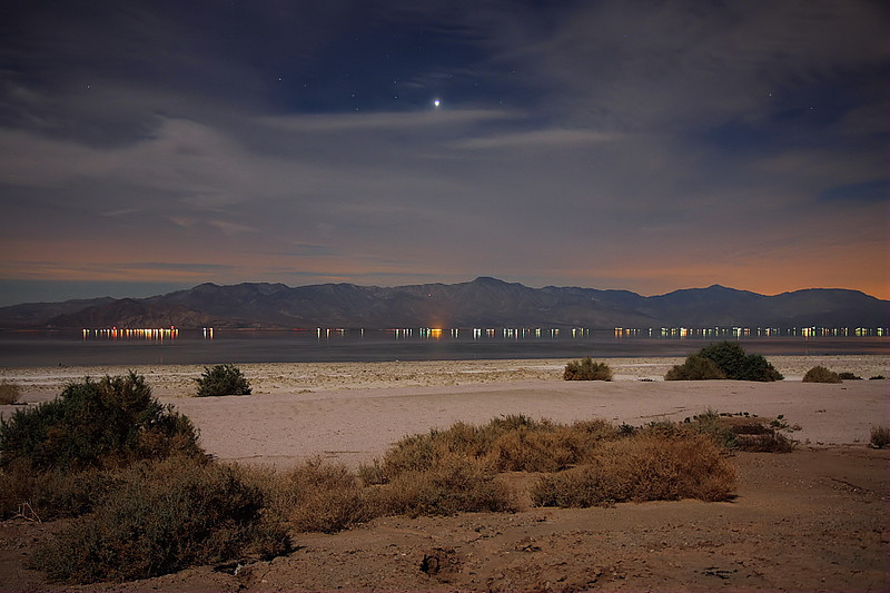 The Salton Sea at 7:18pm, taken at f2.8 and a 10-second shutter speed, February 5 2012.