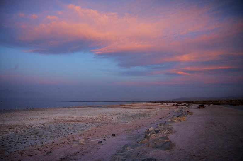 The Salton Sea at the state park campground looking north, the morning of January 30, 2011.