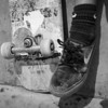 Scuffed board and shoes