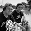 The twins, Joey and John. Beginning skateboarders.