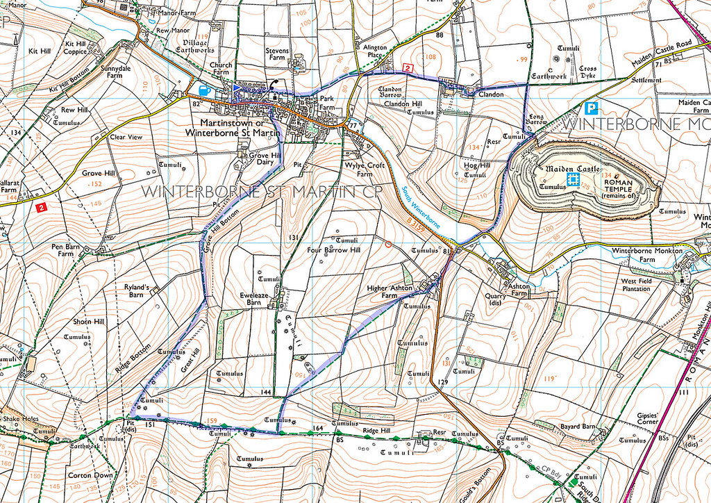 The route followed as recorded on my phone.   We went anticlockwise.