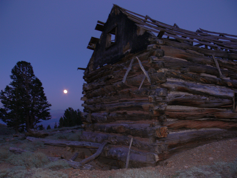 Moonrise at the abandoned cabin.