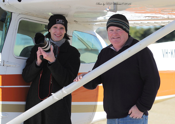 A new combination in 2016, photographer Riva Wallis and Pilot Brad Pearsall together at Young Airport in June 2016, preparing for their flight to Harden and Yass.