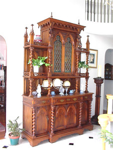 "Early 20th century Gothic Revival Buffet a Deux Corps, 8' 9"" H, 5' 11"" W, 2' 2"" D.  $2,000. Sorry, no takers for this at $2K, so you can now buy at Carolyn Thompson's Antique Center of Texas for only $5,000)."