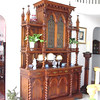 "Early 20th century Gothic Revival Buffet a Deux Corps, 8' 9"" H, 5' 11"" W, 2' 2"" D.<br />  $2,000. Sorry, no takers for this at $2K, so you can now buy at Carolyn Thompson's Antique Center of Texas for only $5,000)."