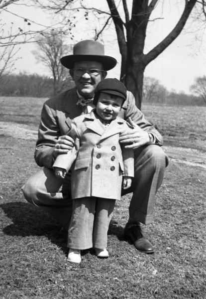 Dad & me, probably 1950 or early 1951.  I suspect this to be taken at Grandpa Collins' yard.