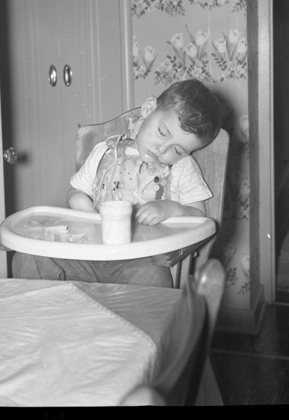 All Tuckered Out!  I am fast asleep in my highchair in our Kitchen at 213 South Main Street in Troy, Illinois.