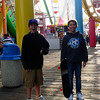 Mitch and Matt right before the roller coaster roared overhead!