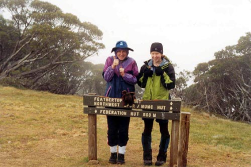 With Emma and Meg, on the way home from Federation Hut