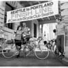Paul and Sally Boyer at end of the first Seattle to Portland Classic in 1969. We all completed the 200-mile ride in a day.<br /> About 300 started and fewer than 80 made it all the way to Portland because of brutally cold and rainy weather much of the way. Today, the STP attracts about 10.000 riders. Far too much traffic, in my opinion.