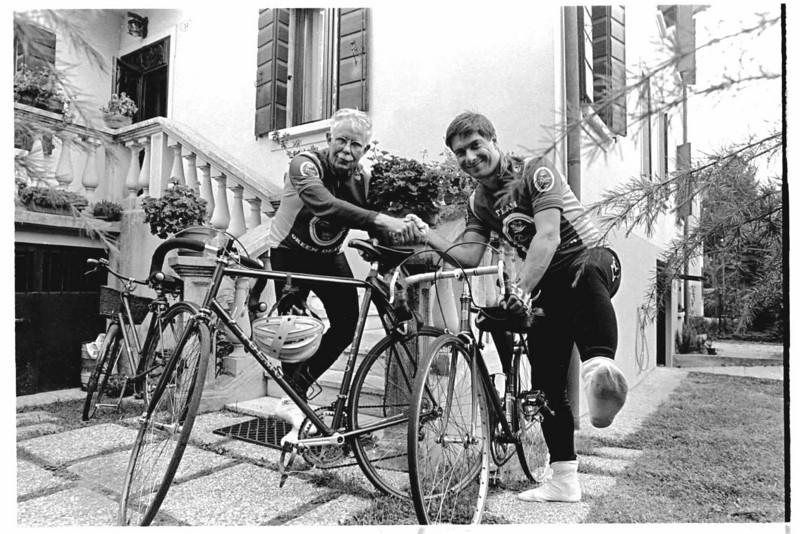My Italian riding partner Flavio Rossetti and I at his home  in Padova.