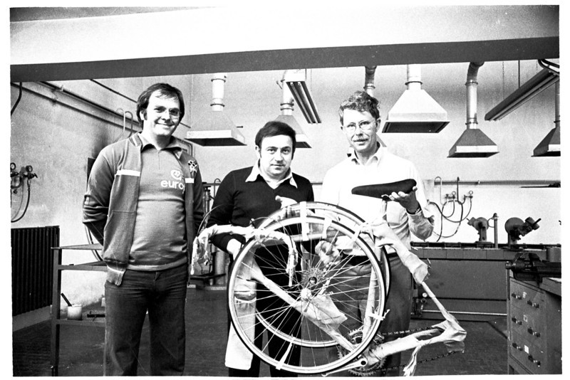 Paolo Colnago, center, built and packed this Colnago for me to ship home from Italy in 1978. I have ridden nearly 115,000 miles on this bike and the steel frame seems as good as Mile 1.