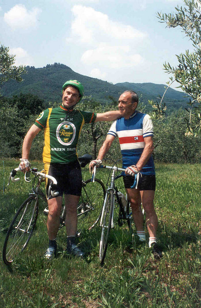 Flavio and Nando Rossetti on a country ride near Padova. Flavio wears a Team Green Death jersey.