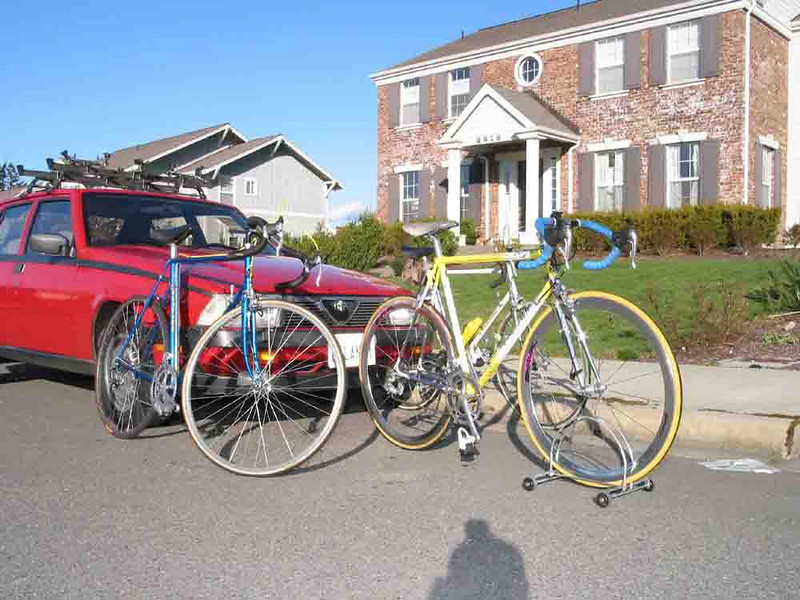 My Lacey house, Alfa Romeo and three Colnago road bicycles, including the white bike built for me in Cambiago, Italy in 1978. I have ridden it about 115,000 miles.