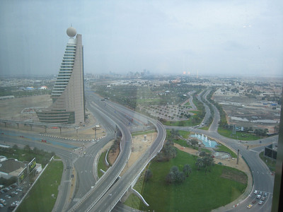 Taken from the new Monarch hotel, and very nice it is too.   This is somethng to tell your grandchildren about, the day Sheik Zayed Road was empty.  The cars on the right are local traffic attempting to avoid the main roads.
