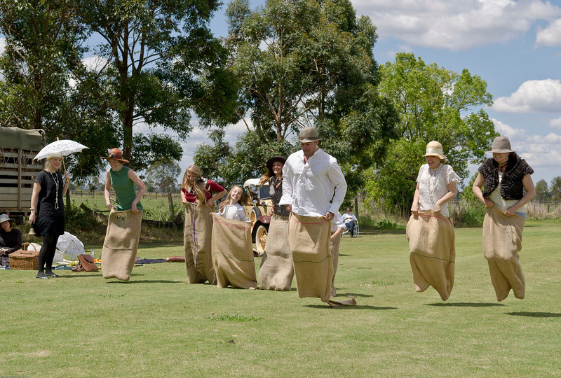 Sack races. It is apparent that the kangaroo gene has crossed the species divide.