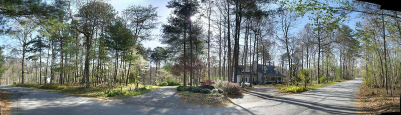 The circle drive way and the full front of the property as it sits on the road. Early spring photo.