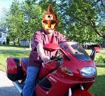 "Tim ""Ultraman"" Marek astride his trusty steed"